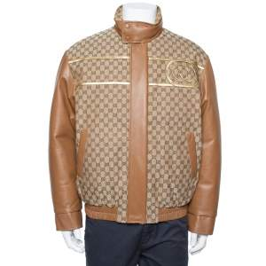 Gucci X Dapper Dan Bicolor Leather Logo Monogram Embellished Varsity Jacket M