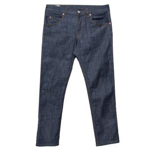 Gucci Navy Blue Denim Tapered Washed Jeans M