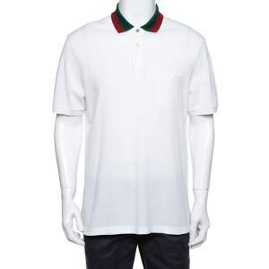 Gucci White Cotton Pique Contrast Collar Detail Polo T-Shirt XXL