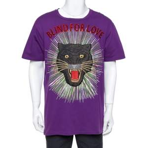 Gucci Purple Cotton Sequin Embellished Tiger Applique Blind For Love T Shirt L