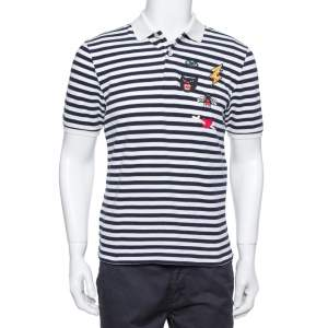 Gucci Navy Blue & White Striped Pique Knit Polo T Shirt L