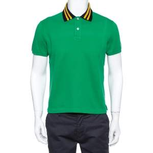 Gucci Green Pique Knit Contrast Collar Detail Polo T Shirt M