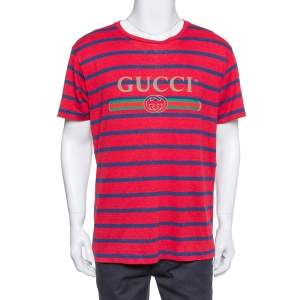 Gucci Red & Blue Striped Linen Knit Logo Printed Oversized T Shirt S