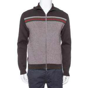 Gucci Brown Web Stripe Intarsia Knit Zipper Front Sweater M