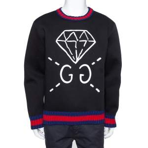 Gucci Black Neoprene Ghost Diamond Print Sweatshirt XL