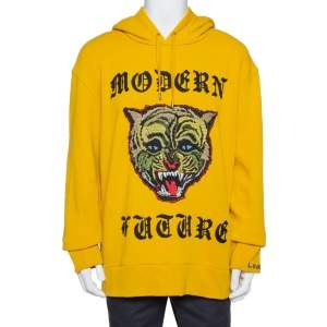 Gucci Yellow Modern Future Applique Detail Cotton Hoodie XXL