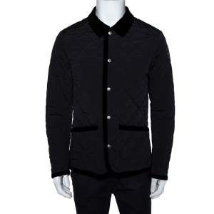 Gucci Equestrian Black Velvet Trim Detail Quilted Jacket M