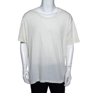 Gucci Cream Cotton Stamp Print Round Neck T-Shirt 3XL