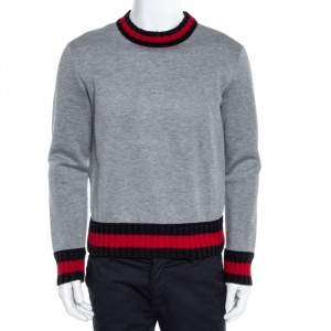 Gucci Grey Neoprene Contrast Trim Detail Sweatshirt S