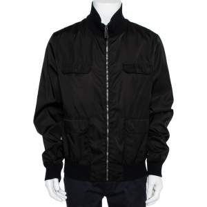 Gucci Black Synthetic Pocket Detail Zip Front Jacket XXL
