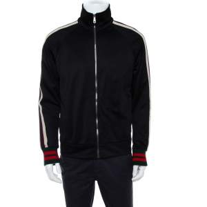 Gucci Black Jersey Side Strip Detail Zipper Front Technical Track Jacket S