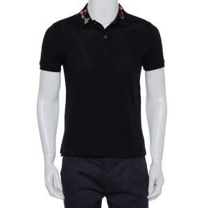 Gucci Black Cotton Pique Snake Embroidered Detail Polo T-Shirt S