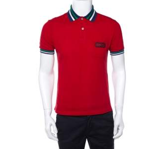 Gucci Red Cotton Pique Contrast Collar Logo Patch Detail Polo T-Shirt S