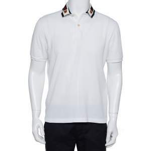 Gucci White Cotton Pique Web Trim & Feline Head Collar Detail Polo T-Shirt L