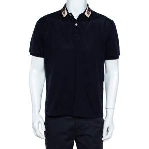 Gucci Navy Blue Cotton Pique Web Trim & Feline Head Collar Detail Polo T-Shirt L