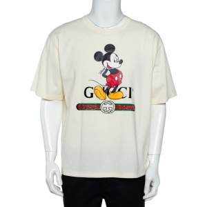 Gucci X Disney Cream Logo Printed Cotton Crewneck Oversized T-Shirt XXL