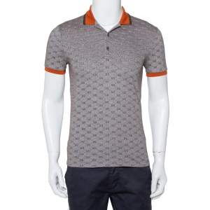 Gucci Brown GG Print Cotton Contrast Collar Skinny Fit Polo Shirt S