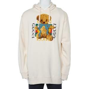 Gucci Cream Logo Printed Cotton Applique Detail Oversized Hoodie XL