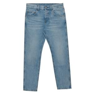 Gucci Blue Denim Loved Applique Detail Straight Leg Jeans S