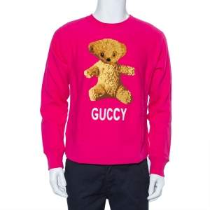 Gucci Pink Cotton Teddy Bear Applique Crewneck Sweatshirt S