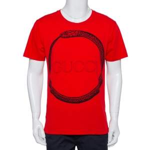 Gucci Red Logo Printed Cotton Distressed Crewneck T-Shirt S