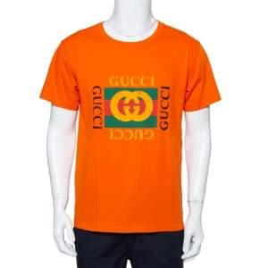 Gucci Orange Logo Printed Cotton Distressed Crewneck T-Shirt S