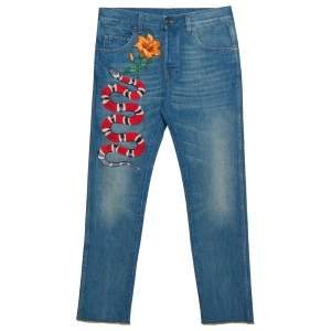 Gucci Blue Faded Denim Snake & Floral Applique Detail Straight Leg Jeans S