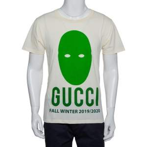 Gucci Cream Cotton Manifesto Printed Crewneck T-Shirt XS