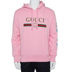 Gucci Pink Cotton Logo Dragon Embroidered Hoodie XS