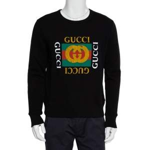 Gucci Black Vintage Logo Print Cotton Sweatshirt S