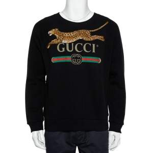 Gucci Black Logo Printed Cotton Leopard Applique Detail Sweatshirt S