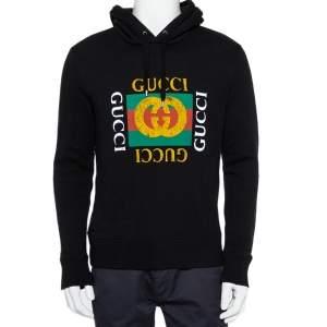 Gucci Black Vintage Logo Print Cotton Hooded Sweatshirt S