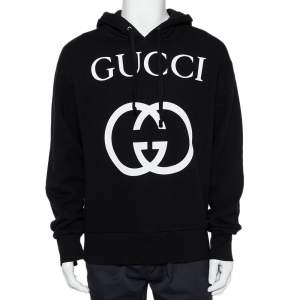 Gucci Black Interlocking G Print Cotton Hooded Sweatshirt S
