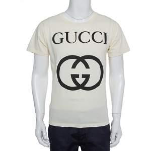 Gucci Cream Interlocking G Print Cotton Oversized Crewneck T-Shirt XS