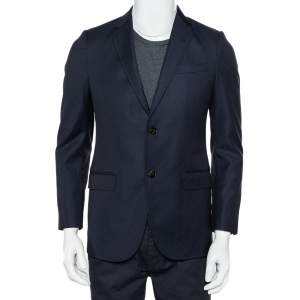 Gucci Navy Blue Dotted Wool Button Front Blazer S