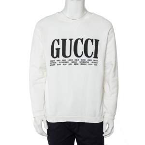 Gucci White Cotton Logo & Cities Printed Crewneck Sweatshirt M