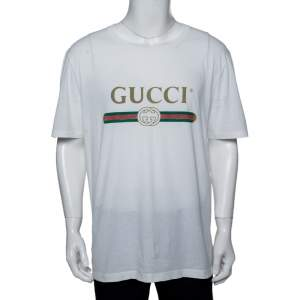 Gucci White Logo Printed Cotton Distressed Crewneck T-Shirt XL