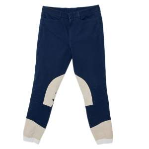 Gucci Navy Blue & Beige Cotton Patch Detail Tapered Leg Pants S