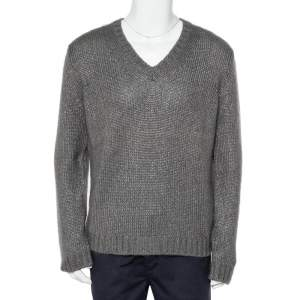 Gucci Grey Silk & Mohair Cable Knit V-Neck Sweater XL