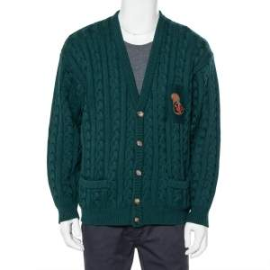 Gucci Dark Green Cable Knit Wool Button Front Cardigan XXL