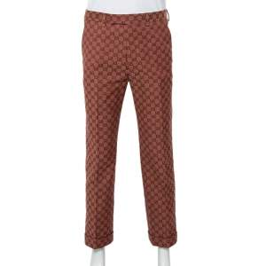 Gucci Brown Logo Jacquard Wide Leg Pants M
