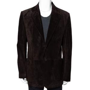 Gucci Brown Suede Button Front Long Jacket 3XL