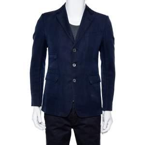 Gucci Navy Blue Cotton & Linen Button Front Blazer M