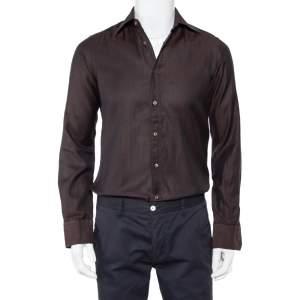 قميص غوتشي أزرار أمامية قطن بني مقاس صغير (سمول)