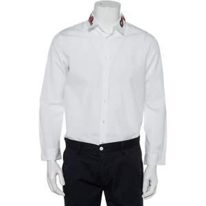 قميص غوتشي دوك ياقة مطرزة ثعبان قطن أبيض مقاس كبير (لارج)