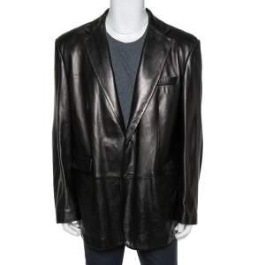 Gucci Brown Leather Button Front Blazer 3XL