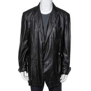Gucci Black Leather Button Front Blazer 3XL