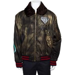 Gucci Metallic Ghost Handpainted Synthetic & Fur Trim  Bomber Jacket XXL