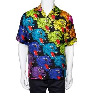 Gucci Multicolor Panther Print Silk Bowling Shirt S