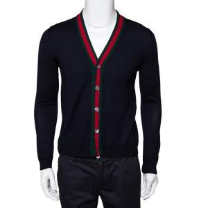 Gucci Ink Blue Wool Web Stripe Detail Open Front Cardigan XS